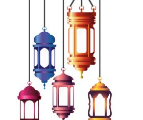 Eid Mubarak festival decorative lamp vector design 02