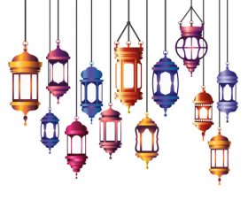 Eid Mubarak festival decorative lamp vector design 03