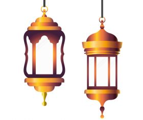 Eid Mubarak festival decorative lamp vector design 04