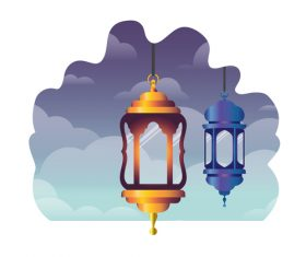 Eid Mubarak festival decorative lamp vector design 05