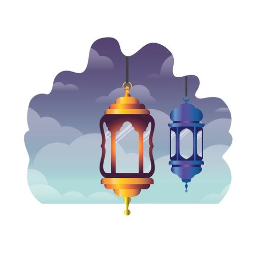 Eid Mubarak festival decorative lamp vector design 05
