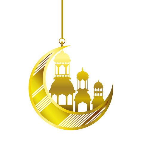 Eid Mubarak festival golden moon decor vector 01