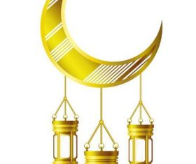 Eid Mubarak festival golden moon decor vector 03