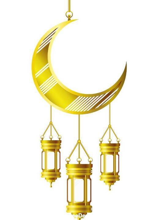 Eid Mubarak festival golden moon decor vector 03