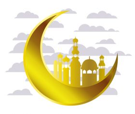 Eid Mubarak festival golden moon decor vector 04