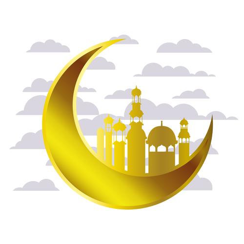 Eid Mubarak festival golden moon decor vector 04