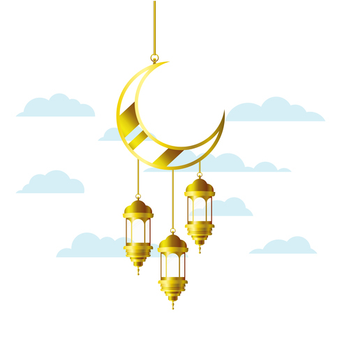 Eid Mubarak festival golden moon decor vector 05