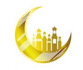 Eid Mubarak festival golden moon decor vector 06
