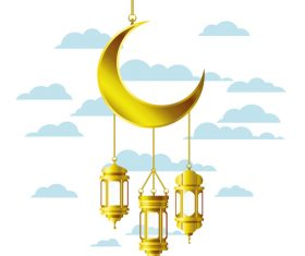 Eid Mubarak festival golden moon decor vector 07
