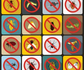 Eliminate pests icons flat style vector