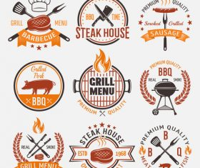 Exquisite BBQ label vector