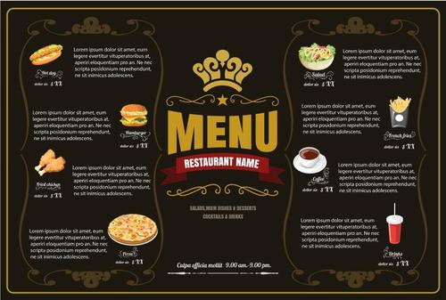 Exquisite restaurant fast foods menu vector