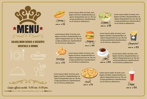 Fast Foods menu vector