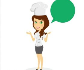 Female chef and green dialog vectors
