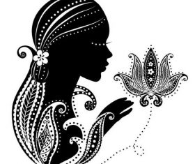Female silhouette and flower vectors