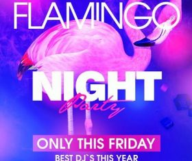 Flamingo night party flyer psd template