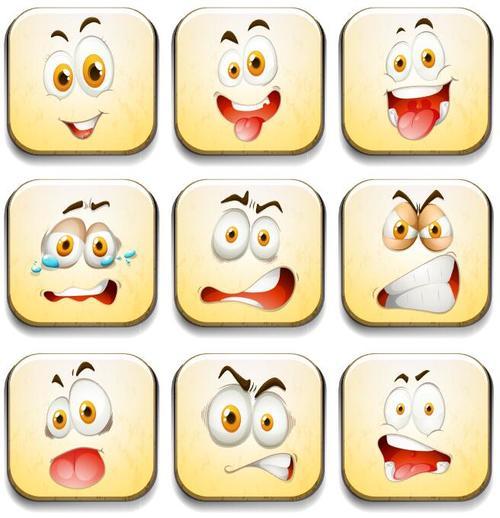 Flat Facial expression vectors