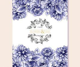 Flower leaf card template vector 01