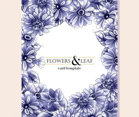 Flower leaf card template vector 02