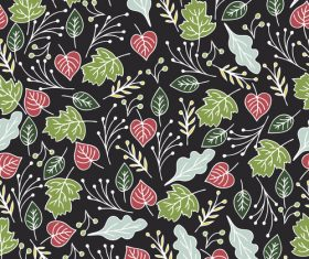 Flowers and Leaves background pattern vector