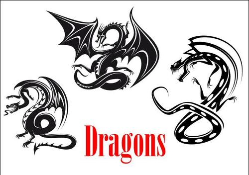 Flying dragon silhouette vector