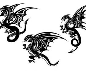 Flying dragon tatoo silhouette vector