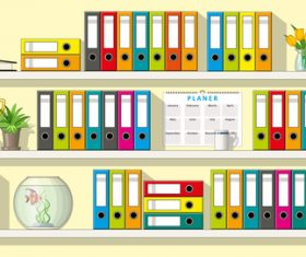 Folder on shelves illustration vectors