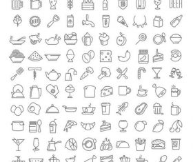 Food and drink linear icons vector