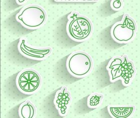 Fruit transparent stickers vector