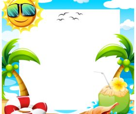 Funny cartoon sun with paper background vector