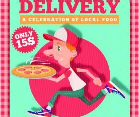 Funny pizza delivery flyer psd template
