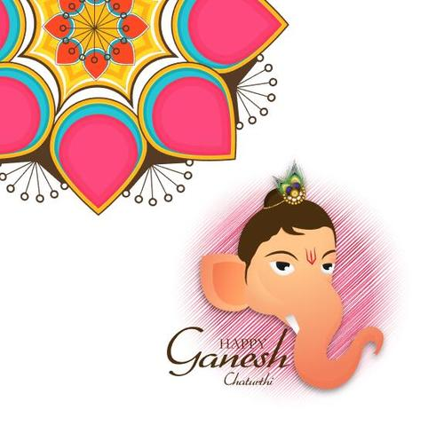 Ganesh Chaturthi and Flower Background vector
