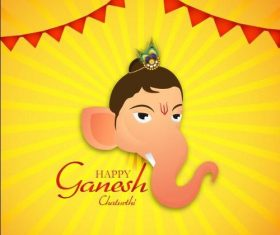 Ganesh Chaturthi and golden background vector