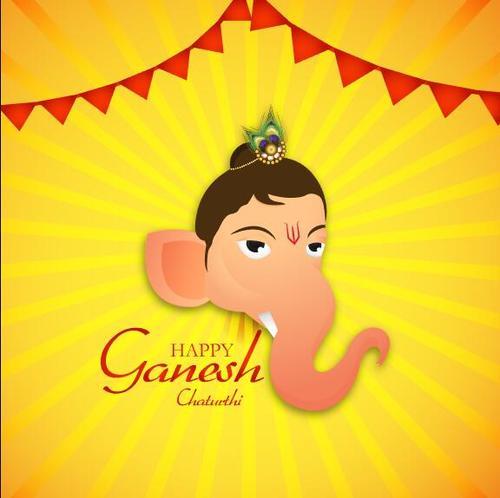Ganesh Chaturthi and golden background vector