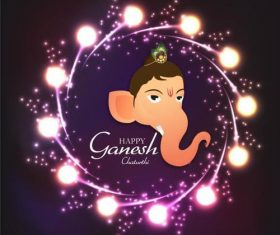 Ganesh Chaturthiand shiny lights background vector
