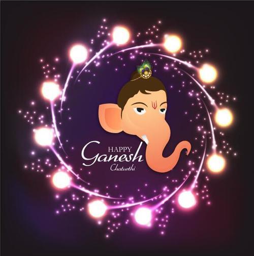 Ganesh Chaturthiand shiny lights background vector
