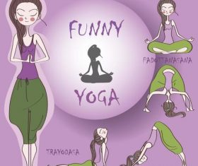 Girl doing yoga cartoon vector