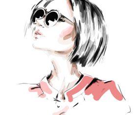 Girl sketch illustration vectors