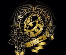Gold Aquarius zodiac sign vector