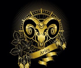 Gold Aries zodiac sign vector