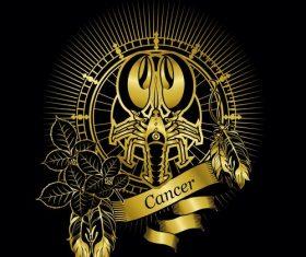 Gold Cancer zodiac sign vector