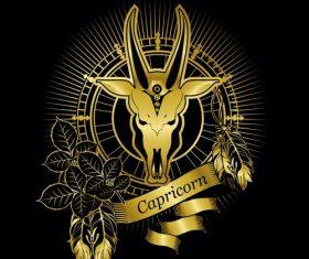 Gold Capricorn zodiac sign vector