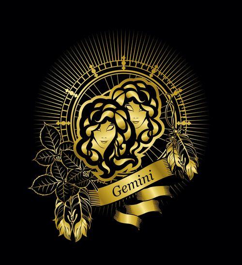 Gold Gemini zodiac sign vector