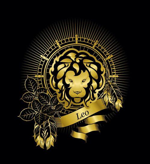 Gold Leo zodiac sign vector