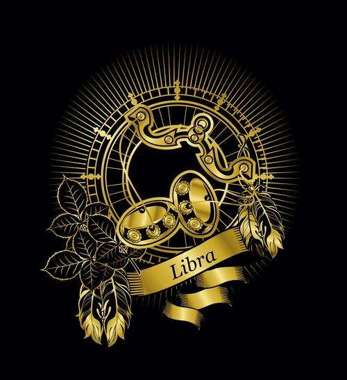Gold Libra zodiac sign vector free download