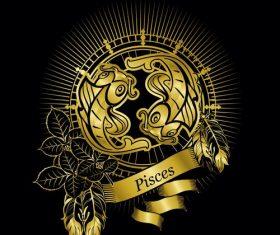 Gold Pisces zodiac sign vector