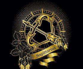 Gold Sagittarius zodiac sign vector