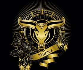 Gold Taurus zodiac sign vector