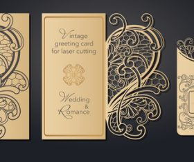 Gold stamping pattern greeting card vectors
