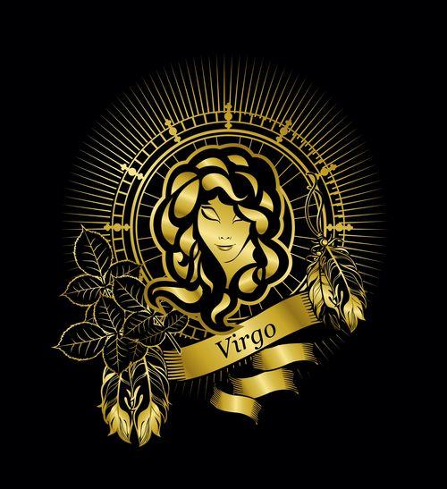 Gold virgo zodiac sign vector